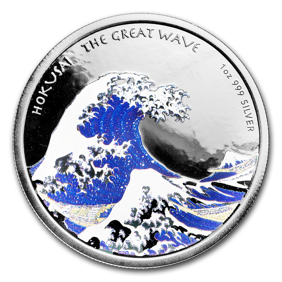 2017 Silver 1 oz Color HOKUSAI Japanese「GREAT WAVE」Wood Print Art PROOF Coin