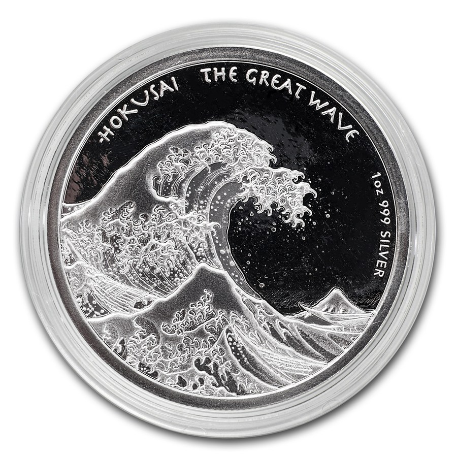 2017 Silver 1 oz HOKUSAI Japanese「GREAT WAVE」Wood Print Art PROOF-like Coin